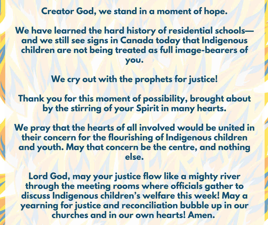 a prayer for the emergency meetings on Indigenous child welfare