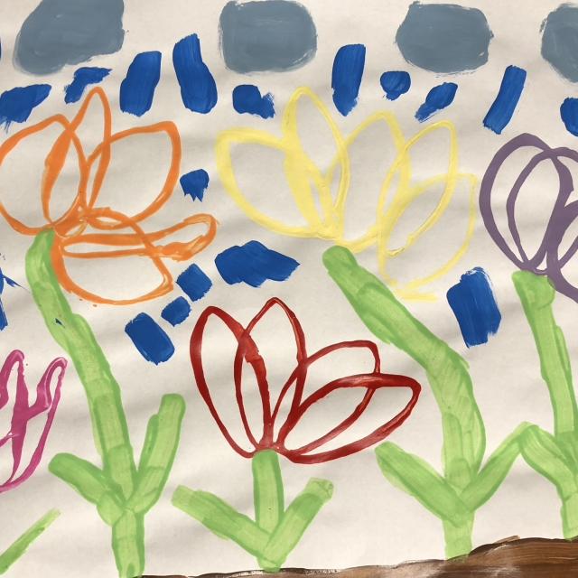 colourful painting of flowers