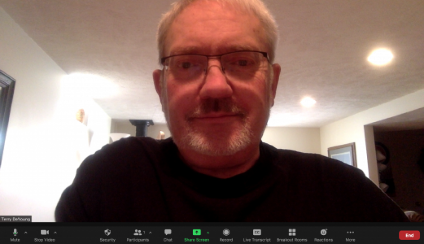 Image of Terry on a zoom call