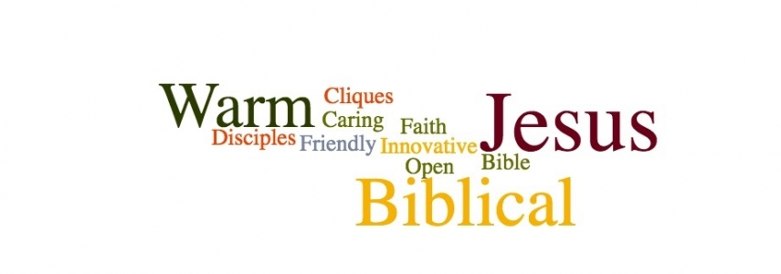 """a word cloud: some words include """"innovative,"""" """"warm,"""" """"cliques,"""" """"Biblical,"""" and """"Jesus"""""""