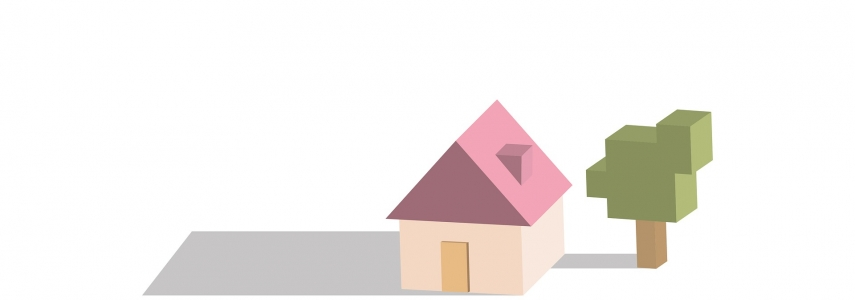 a digital, cubic illustration with a house and a tree.