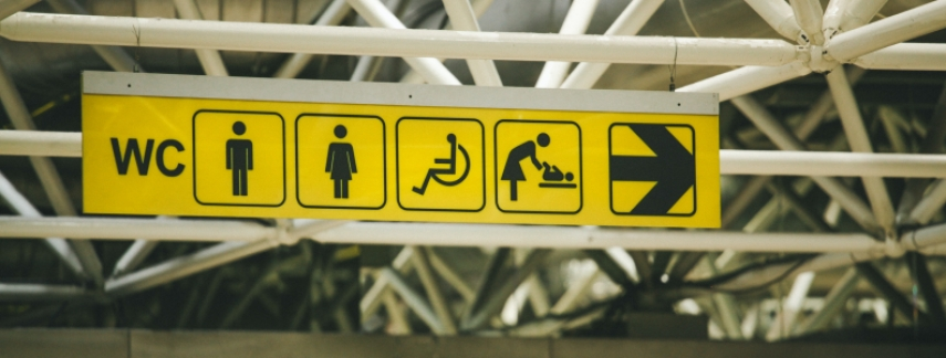 accessible directional signs in a building