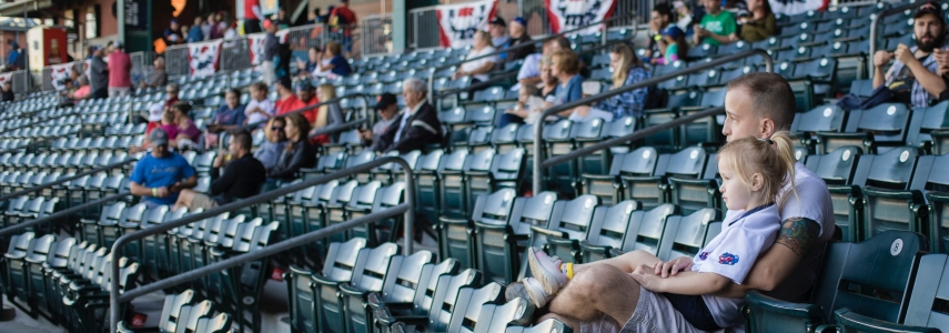 a young girl and her dad sit in a moderately-filled baseball stadium
