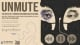 Banner title for the play Unmute, with a graphic of person with headphones and mask